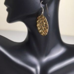 Gold tone circular patch earrings